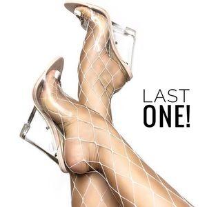 🆕 LAST! Ice Queen |  Perspex Wedge Mules - Nude